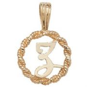 9ct Gold Round rope edged Initial letter Z pendant 0.8g